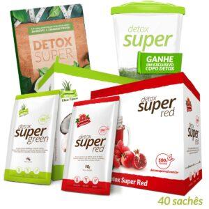 1 caixa Detox Super Red + 1 caixa Detox Super Green (Edição Especial) + Livro de Receitas Digital e Brinde Copo