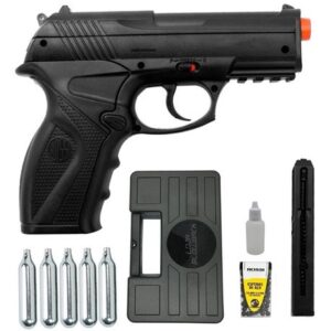 Pistola de Pressão Rossi C11 Co2 6mm esfera de aço + 5 Co2 + Maleta - 6 mm - Preto