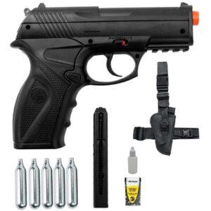 Pistola de Pressão Rossi C11 Co2 6mm esfera de aço + 5 Co2 + Coldre Robocop - 6 mm - Preto