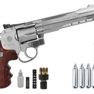 Revolver Pressão Full Metal Co2 702 4.5mm Esferas De Aço K1 - 4.5 mm - Cromado