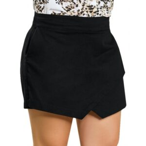 Short Saia Assimétrico Preto Quintess Plus Size