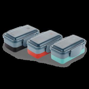 Kit com 3 Lunch Box Vermelha + Verde + Preta