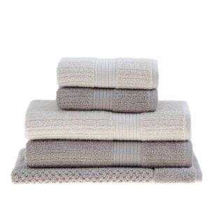 jogo de toalhas de banho buddemeyer 5 peças fio penteado canelado bege 098