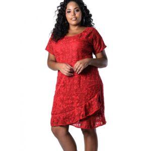 Vestido Plus Size de Renda Vermelho Lenner Plus