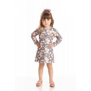 Vestido Infantil Inverno Floral - Quebra Cabeça - 1 - Cinza