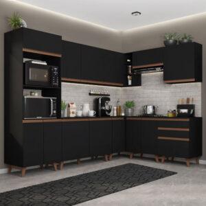 Cozinha Completa de Canto Madesa Reims 462001 com Armário e Balcão Preto