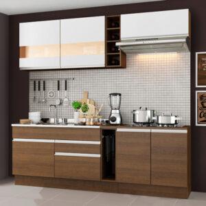 Cozinha Completa Madesa Parma com Armário e Balcão (Sem tampo e Pia) Rustic/Rustic/Branco