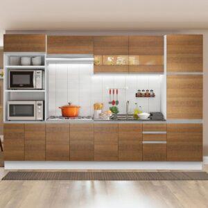Cozinha Completa Madesa Roma 3 Gavetas 13 Portas (Sem Tampo e Pia) Branco/Rustic
