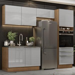 Cozinha Completa Madesa Lux 260005 com Armário e Balcão Rustic/Cinza