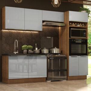 Cozinha Completa Madesa Lux 270001 com Armário e Balcão Rustic/Cinza