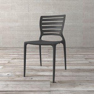 Cadeira com Encosto Vazado Mimosa de Polipropileno Grafite