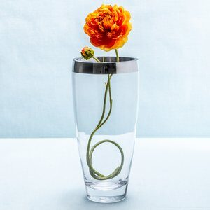 Vaso de Vidro City Special Transparente e Prata 25cm