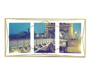 Porta-Retrato Prisma Umbra Dourado para 3 Fotos