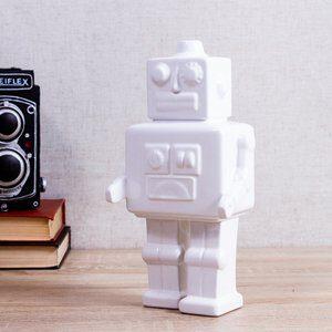 Enfeite de Cerâmica Robot Branca 26cm