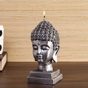 Vela Buddha 3D Prateado 16cm