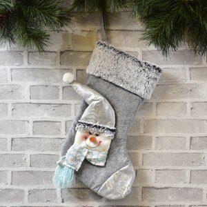 Enfeite de Porta Bota Boneco de Neve Prateado 47cm