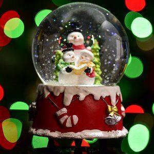 Globo de Natal Boneco de Neve Vermelho e Verde 14cm