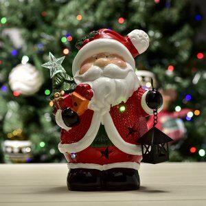 Enfeite Natalino Papai Noel de Led Vermelho 22cm