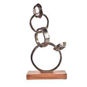 Escultura Anéis Prateados 21x38cm