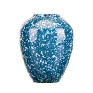 Vaso de Cerâmica Marmorizado Azul e Branco 15x19cm