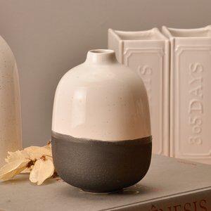 Vaso Decorativo Apple Branco e Preto D12,5cm