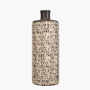 Vaso de Cerâmica Apple Branco e Preto D16cm