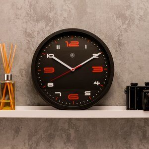 Relógio de Parede Preto e Vermelho