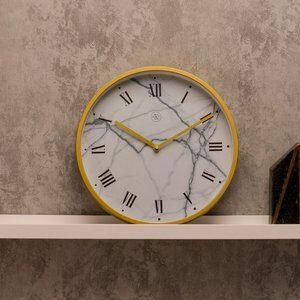 Relógio de Parede Marmorizado Branco