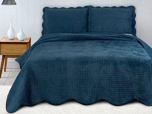Colcha de Casal e 2 Porta-Travesseiros Velvet Azul Marinho