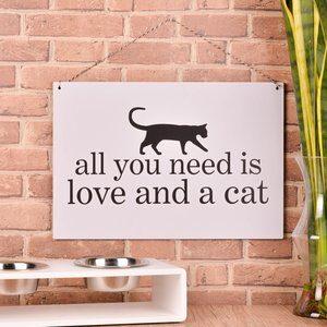 Placa Decorativa com Barbante Cat Branca 30x44cm