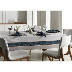 Toalha de Mesa Quadrada Corinna Cinza e Azul 160x160cm