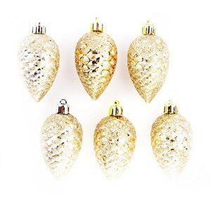 Enfeite Decorativo Natalino Branco e Ouro 6 Peças 7cm