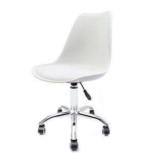Cadeira Giratória com Assento Estofado Eames Branca