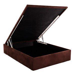 Cama-Box com Baú de Casal Physical Ortobom de Suede Marrom