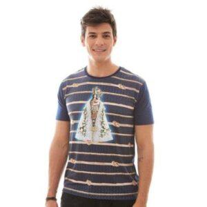 Camiseta Nossa Senhora De Nazaré Dv4697 Ágape Masculina - Masculino-Azul