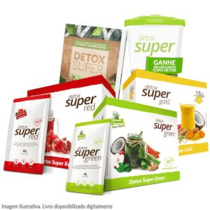 1 caixa Detox Super Green + Red + Gold (20 sachês cada)
