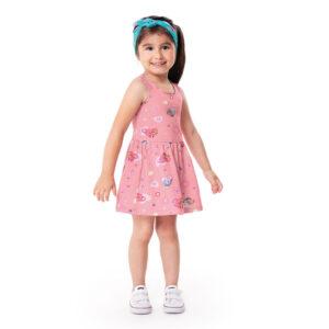 Vestido Infantil - 100% Algodão - Patrulha Canina - Rosa - Malwee