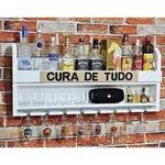 Bar Barzinho Suspenso De Parede Adega Vinhos Bebidas Madeira MDF Cura de Tudo 100x45cm Branco Fosco