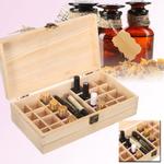 Leve 27 cm x 14,5 cm x 8 cm Caixa de armazenamento de garrafas de óleo essencial de madeira de pinho 24 Grade + 1 Grade grande