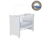 Berço Simples com Rodízios Linha Doce Sonho Branco Azul com Colchão 130x60 cm Baby Physical Qmovi Ortobom