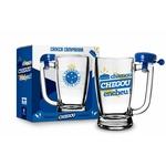 Caneca De Chopp Bar Vidro Time Futebol Cruzeiro + Campainha