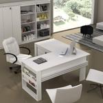 Mesa Angular para Escritório Charme Espresso Móveis Branco