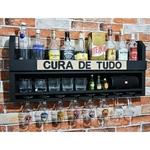 Bar Barzinho de Parede Adega Vinhos MDF Porta Taças Porta Copos Cura de Tudo 45x100cm Preto Fosco