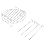 4 Skewers Air Fryer Rack Double-layer Grill Barbecue Outdoor BBQ Grill Basket