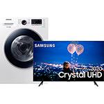 Samsung Smart TV 65'' Crystal UHD 65TU8000 4K, Wi-fi, Borda Infinita, Alexa built in, Controle Único e Visual Livre de Cabos + Lava e Seca Samsung 11Kg WD11M4453JW Branca com EcoBubble - 127v
