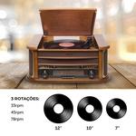 Toca Discos e Conversor Vinil Obabox Madeira, Bluetooth, CD, USB, Rádio FM, K7, Aux ObaVintage Plus