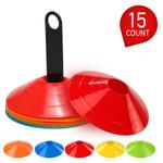 15pcs agilidade Disc Cone Set multi esporte Treinamento Espaço Cones com plástico Stand titular para bola de futebol Football Game Disc Mini Formação Cones campo Marcadores 15