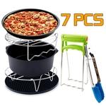 7 Pçs / set Air Fryer Acessórios de Cozinha Para 3.7QT-5.3QT Prato Prato Comida Clipe Pan Mat + Receita