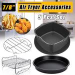 5 pcs Acessórios Air Fryer 7/8 Polegada Apto para Airfryer Cesta de Cozimento Placa de Pizza Grill Panela Ferramenta de Cozinha Cozinha para festa
