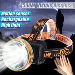 Farol LED recarregável superbrilhante, sensor de movimento, farol, lâmpada, tocha, iluminação externa